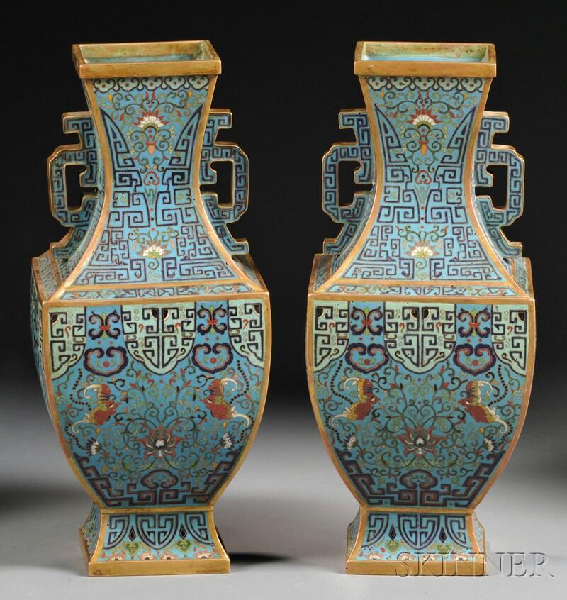 Pair of Gilt-bronze Cloisonne Vases