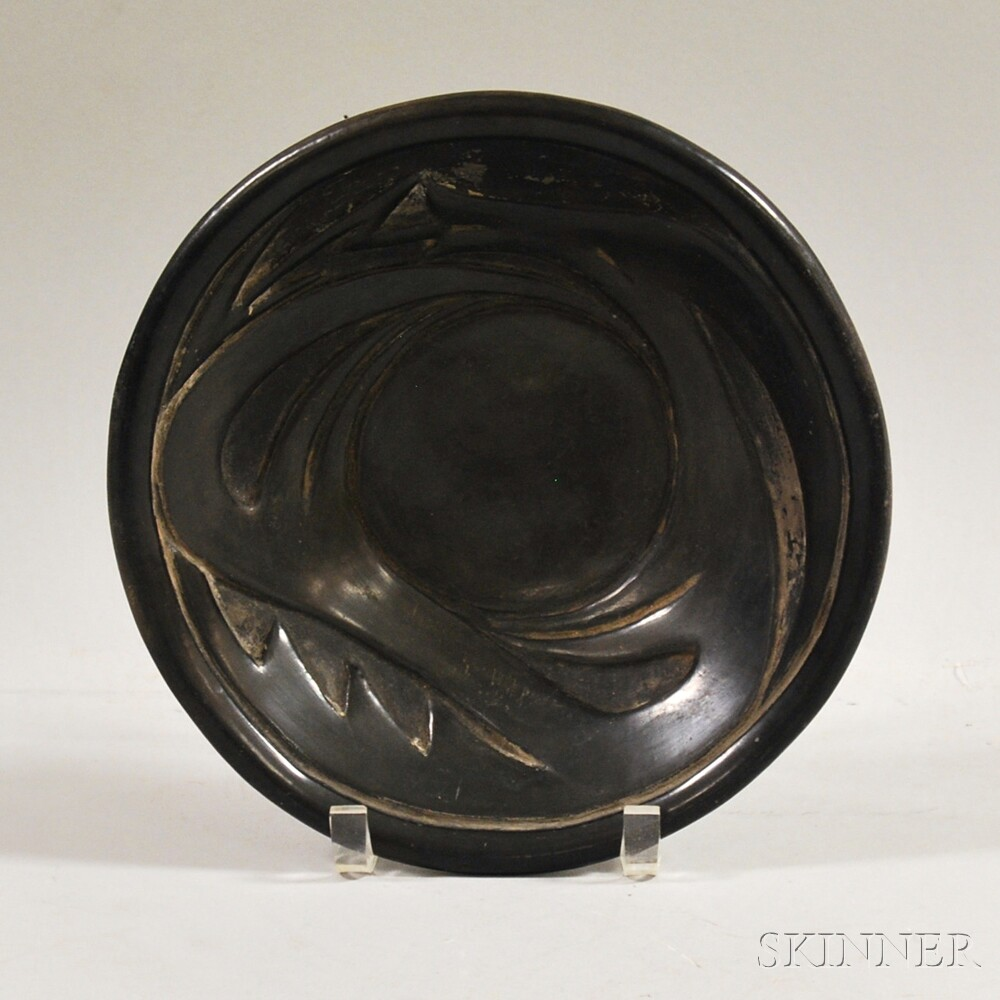 Severa Tafoya Santa Clara Carved Blackware Pottery Shallow Bowl