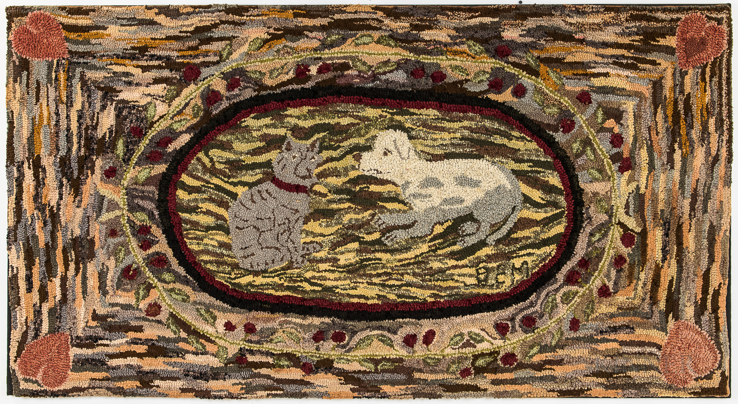 Large Cat and Dog Hooked Rug