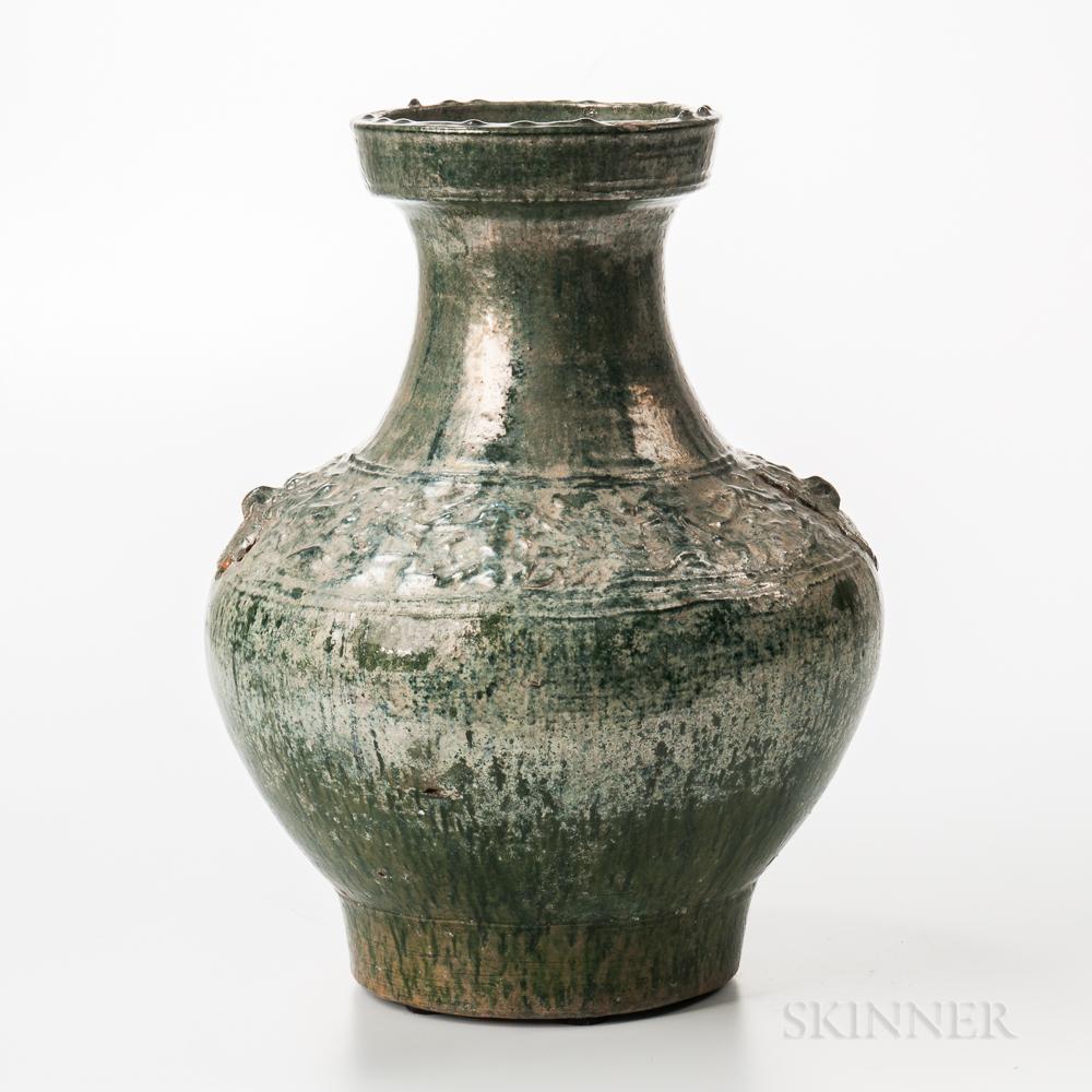 Large Iridescent Green-glazed Jar
