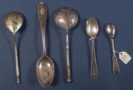 Eleven Russian Silver and Niello Spoons