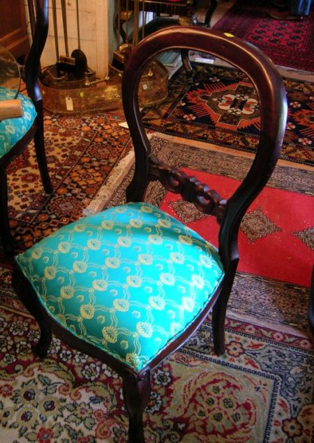 Set of Four Asian Victorian-style Upholstered Carved Hardwood Parlor Side Chairs.