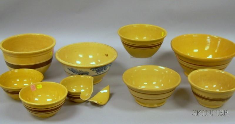 Nine Banded Yellowware Kitchen Mixing Bowls.