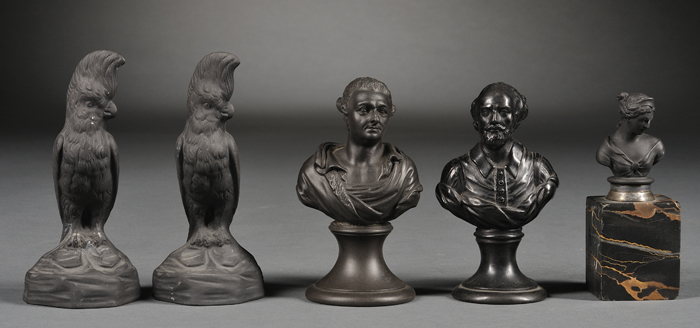 Five Small Wedgwood and Related Black Basalt Items