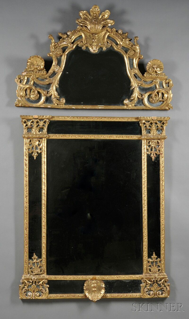 Two-part Giltwood Mirror