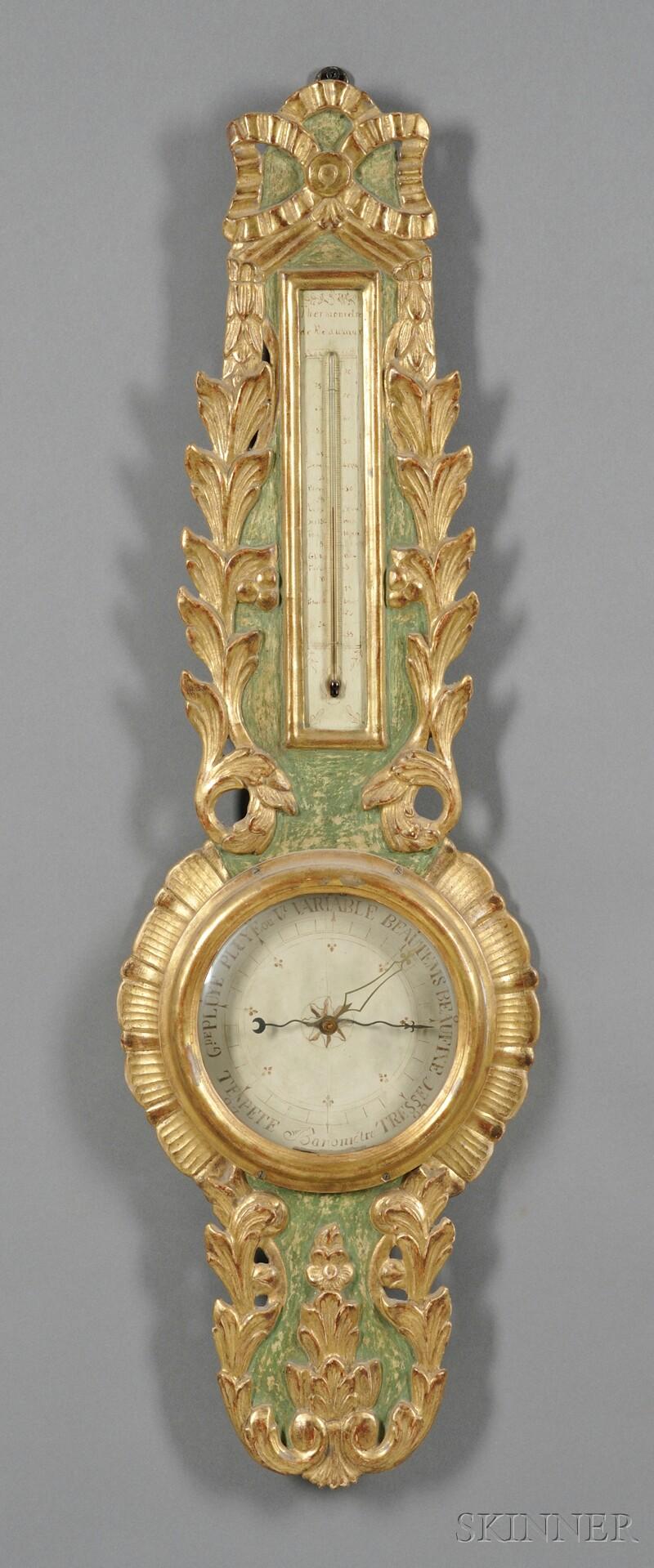 French Parcel-gilt Wheel Barometer