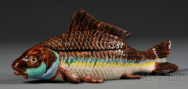 Hugo Lonitz Fish-form Majolica Covered Tureen
