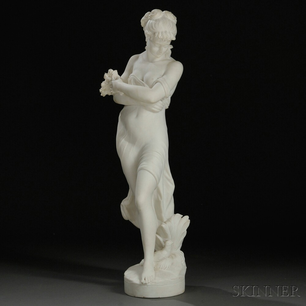 Italian School, Late 19th/Early 20th Century       Marble Figure of a Scantily Clad Girl