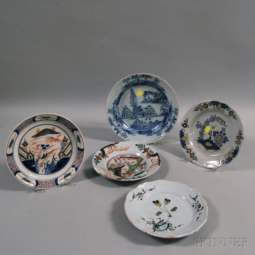 Five Continental Tin-glazed Plates