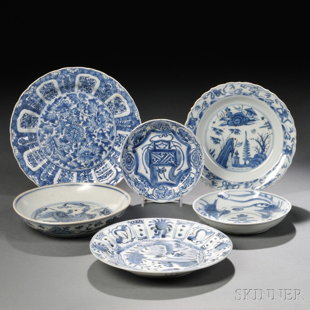 Six Blue and White Dishes