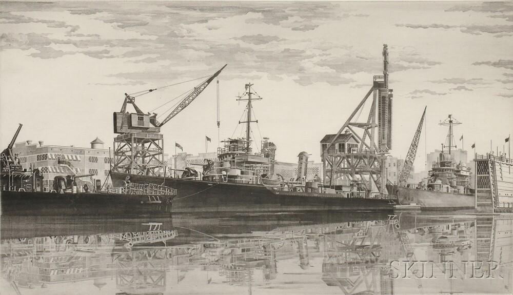John Taylor Arms (American, 1887-1953) Two Shipyard Views: Battle Wagon - U.S.S. Alabama Outfitting at Norfolk Navy Yard, Crane Ship Ke