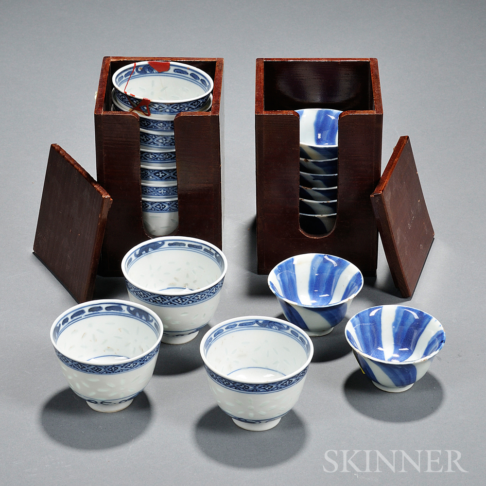 Eighteen Blue and White Cups