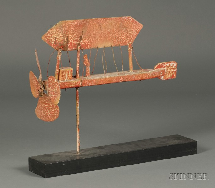 Red-painted Tin and Wooden Dirigible Whirligig