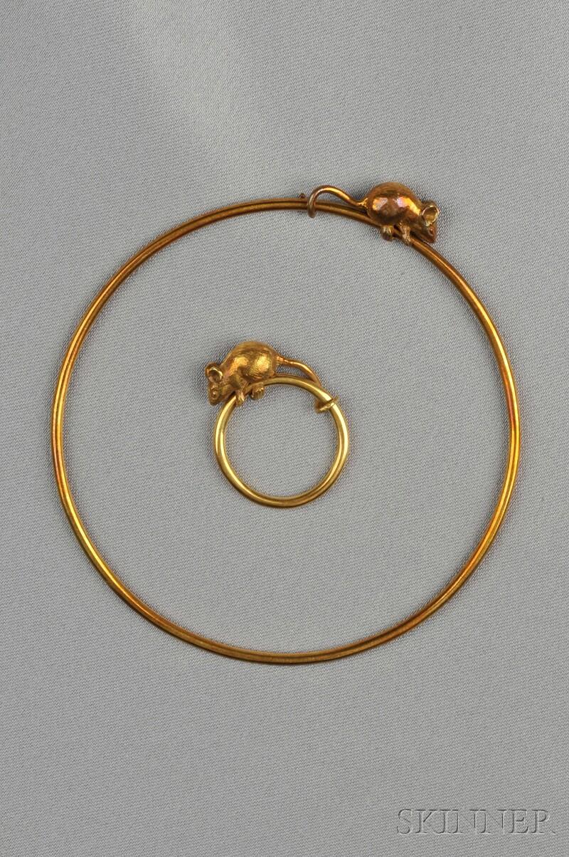 18kt Gold Bangle and Ring, Asprey