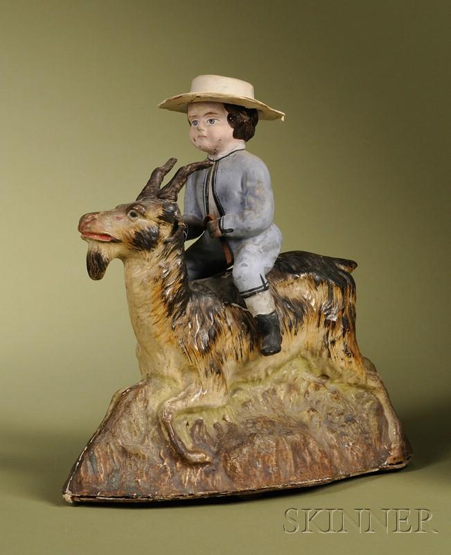 Rare Boy Riding Goat Pull-Toy