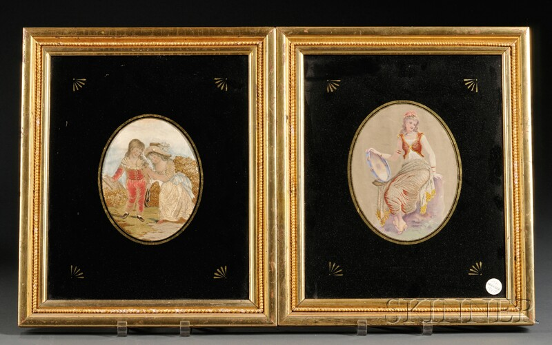 Two Framed Silk Needlepoint Pictures