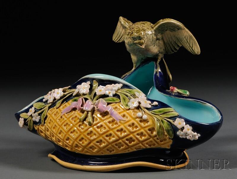 Minton Majolica Shaped Dish with Bird