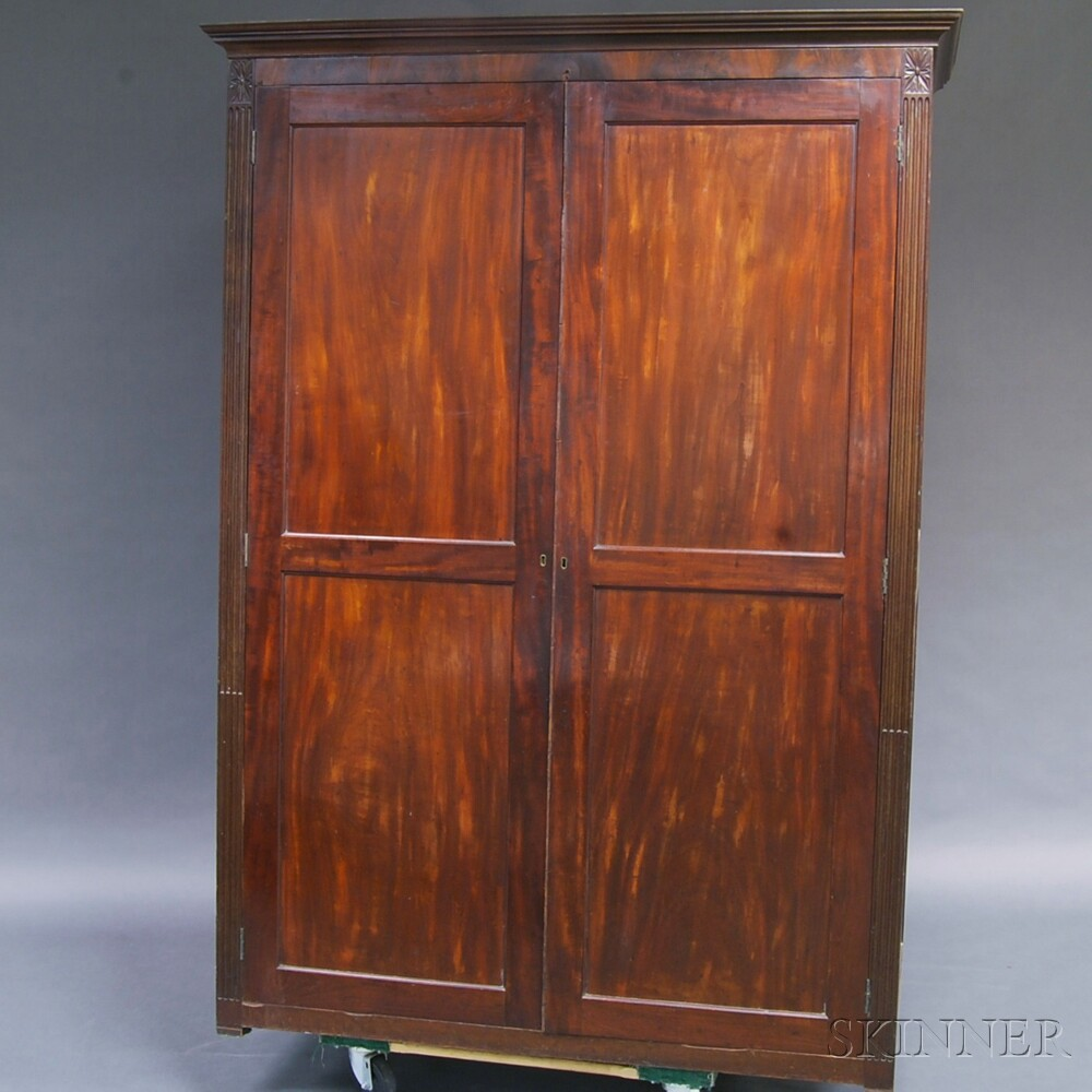 Classical Carved Mahogany Veneer Armoire
