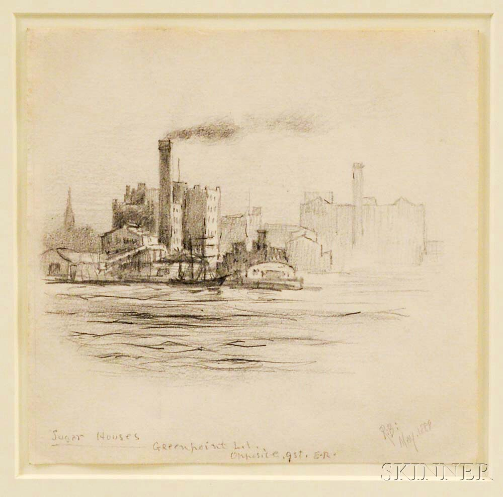 Framed Pencil Sketch Sugar Houses   Attributed to Reynolds Beal
