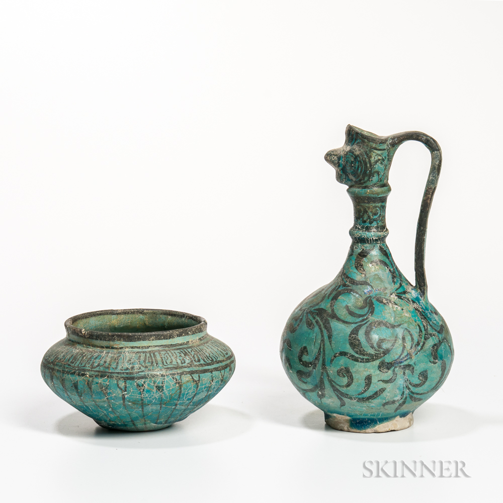 Turquoise and Black Kashan Ewer and Bowl