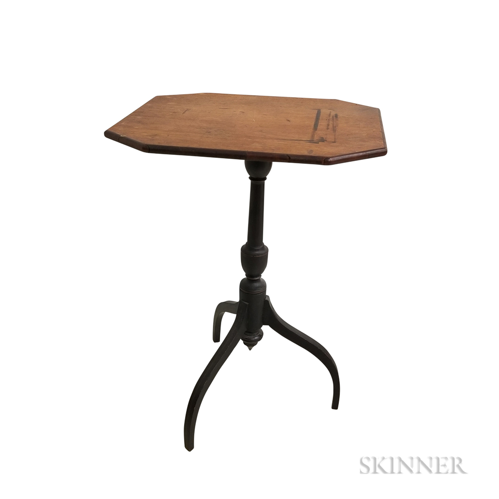 Federal-style Black-painted Tilt-top Candlestand