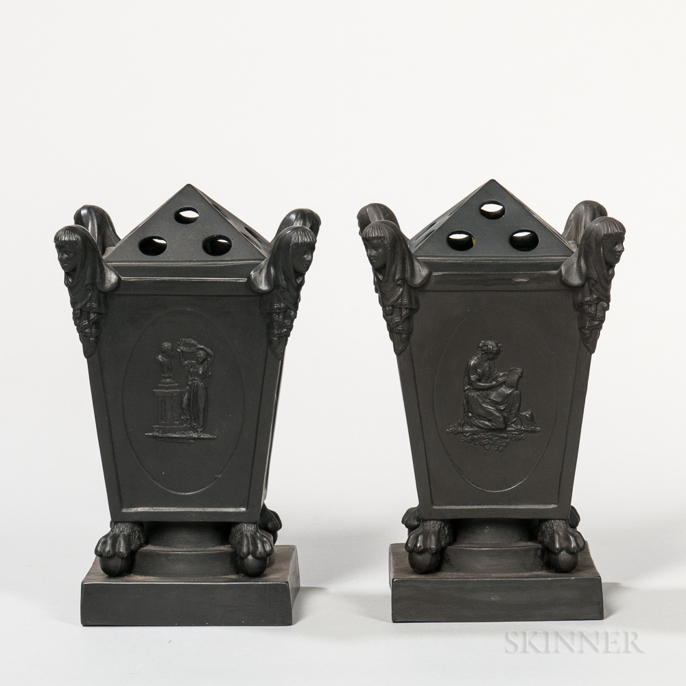 Pair of Turner Black Basalt Bough Pots and Covers