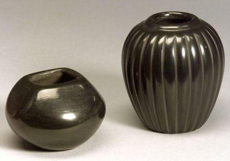Two Southwest Santa Clara Polished Blackware Bowls