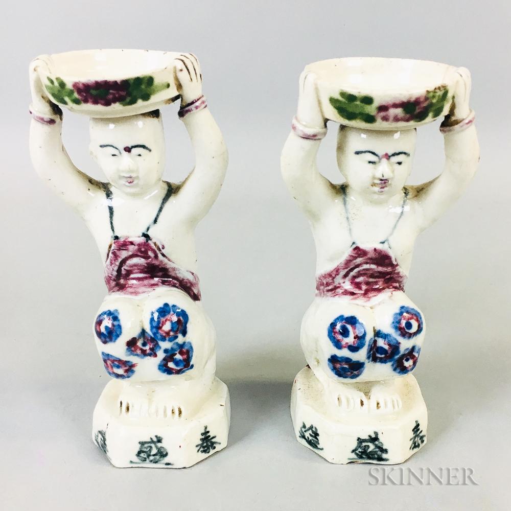 Pair of White-glazed Candleholders
