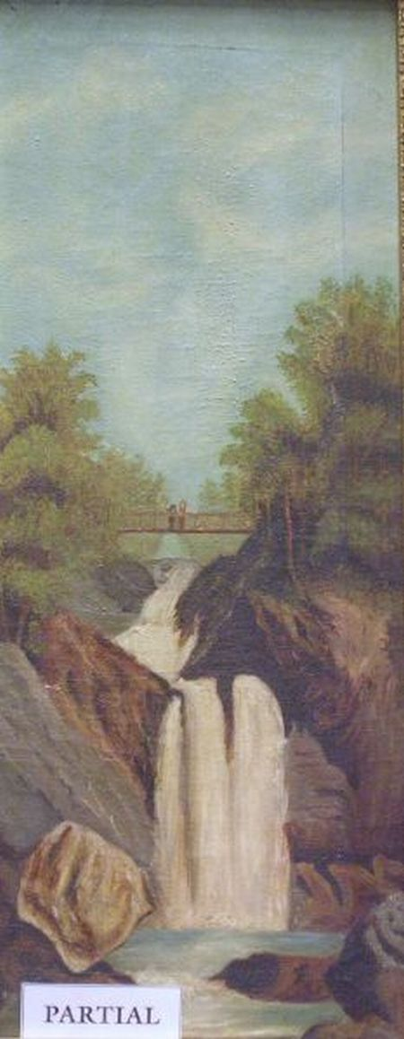 Lot of Two Framed Oil Paintings, Waterfall