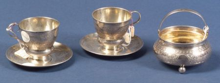 Three Russian Silver Teawares