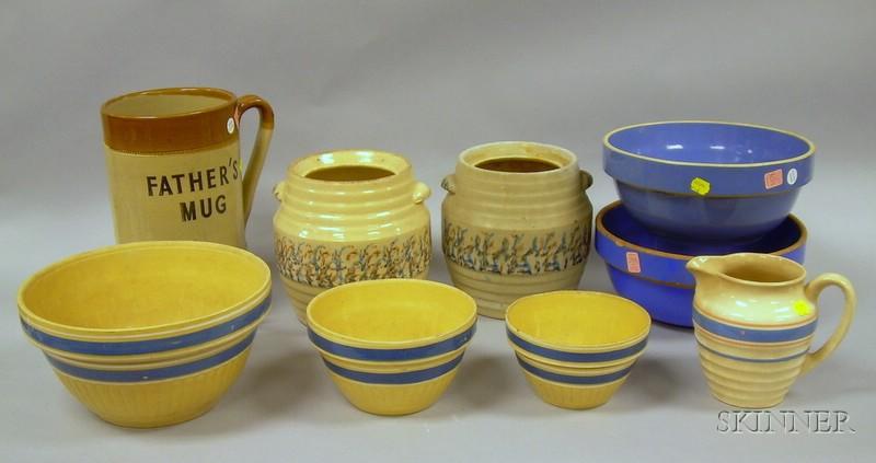 Nine Kitchen Stoneware and Ceramic Items