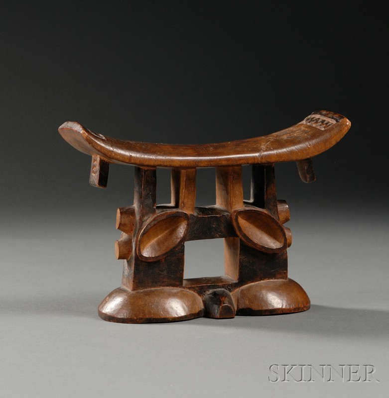 African Carved Wood Headrest