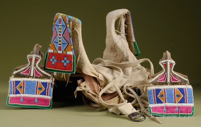 Plains Beaded Hide, Cloth, and Wood Child's Saddle