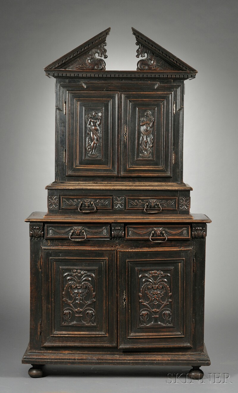 Carved Oak Chest-on-Chest
