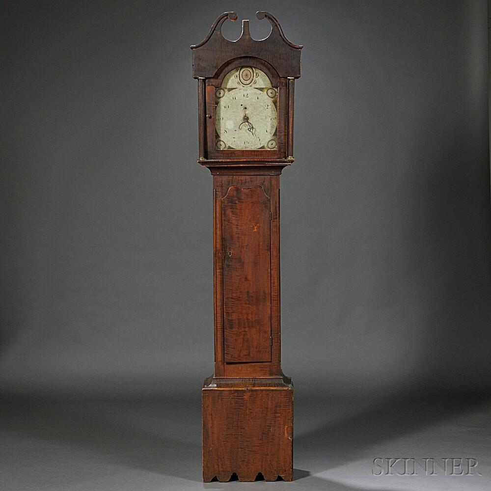 New England Tiger Maple Tall Clock