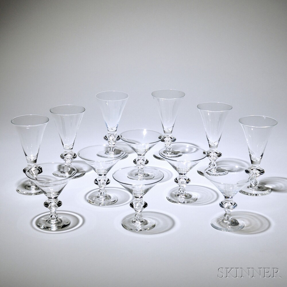 Good Barware Set, Steuben, Mid 20th Century, Comprised Of Nine Martini Glasses  And Twenty Five Goblets, Pattern #7737, Some Marked Steuben,