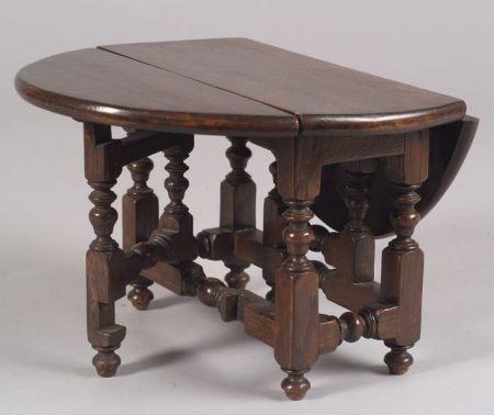 Miniature Oak William & Mary Gate-leg Table