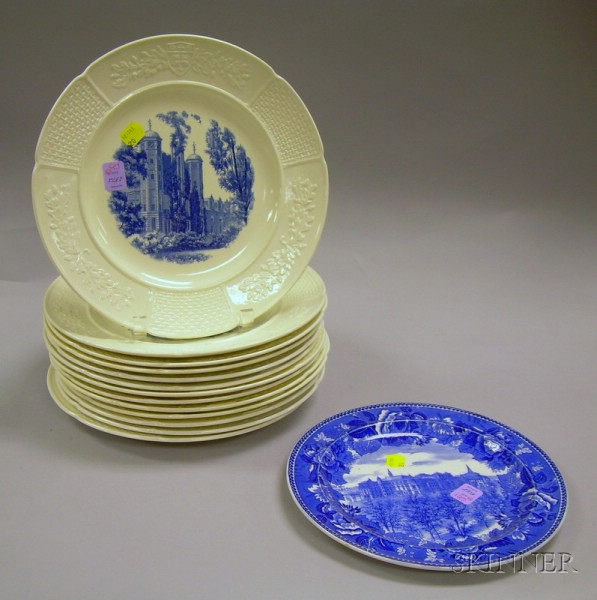 Set of Thirteen Wedgwood Embossed Queen's Ware and Blue Transfer Decorated Wellesley   College Dinner Plates