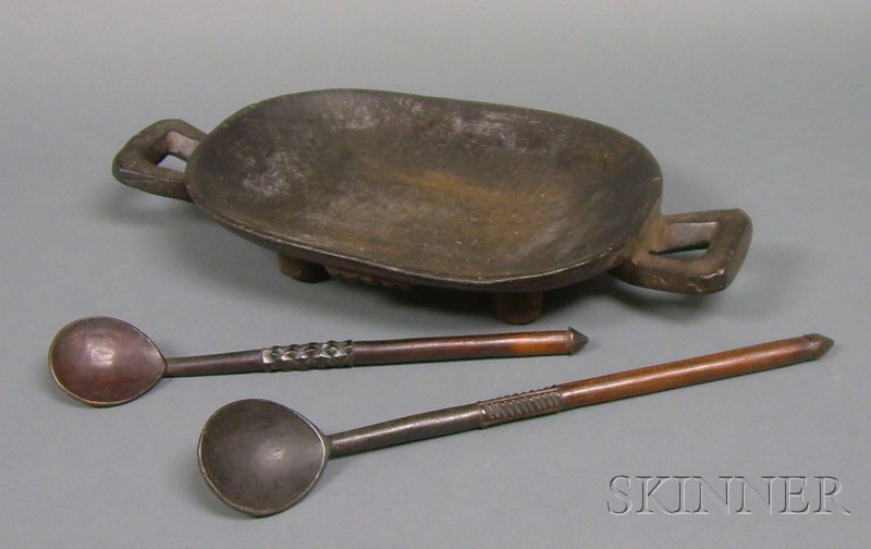 African Carved Wood Bowl and Two Spoons