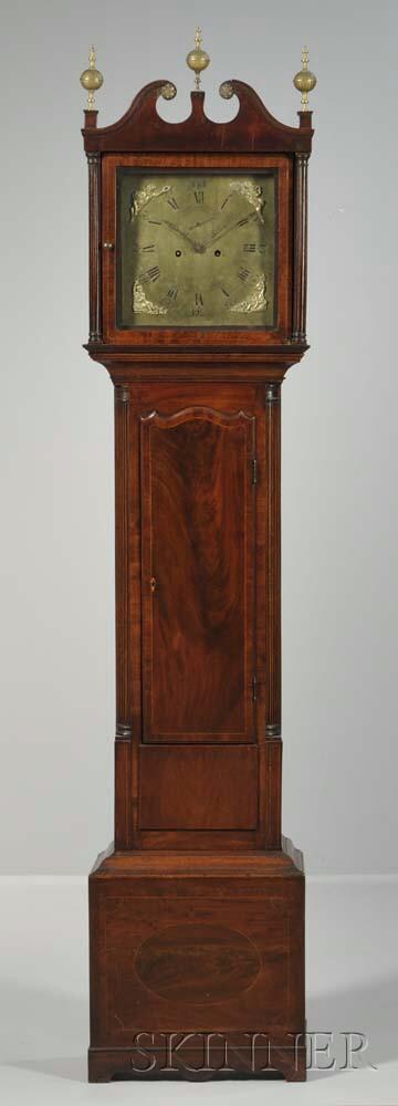 Mahogany Veneered and Inlaid English Longcase Clock