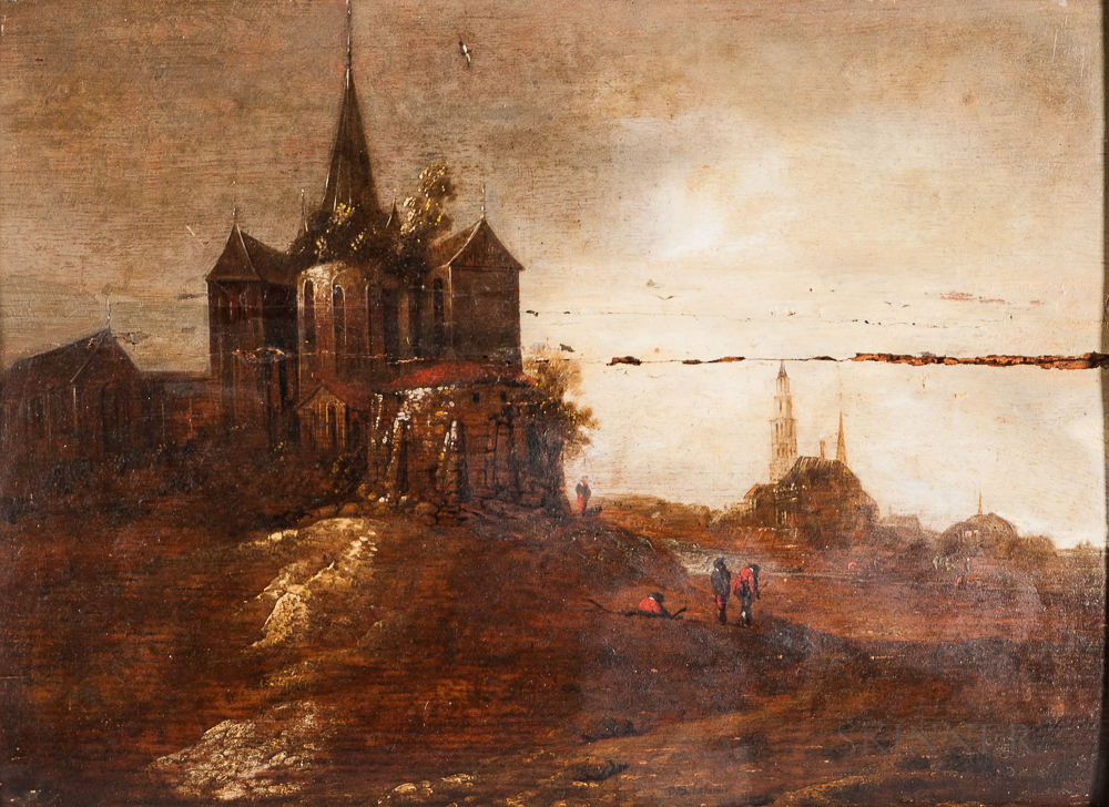 Dutch School, 17th Century Style      Landscape with Church and Distant Spires.