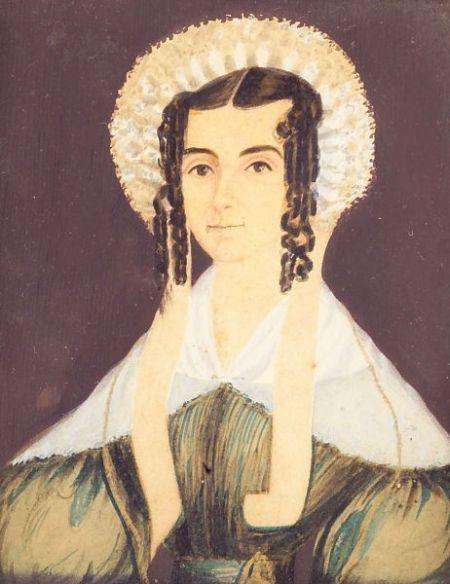 American School, 19th Century    Miniature Portrait of a Woman Wearing a Lace Bonnet.