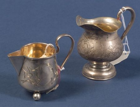 Two Russian Silver Creamers