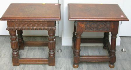 Two Hale & Kilburn Mfg. Co. Jacobean-style Carved Oak Joint Stools.