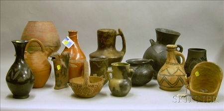 Fourteen Pieces of Assorted Mostly Mexican Pottery.Fourteen Pieces of...