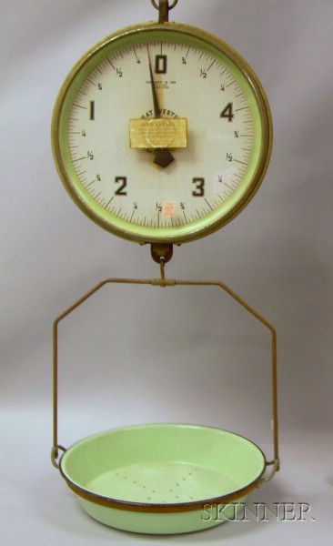 Great Western Kitchen Green Enameled Metal Double-sided Hanging Pan Scale
