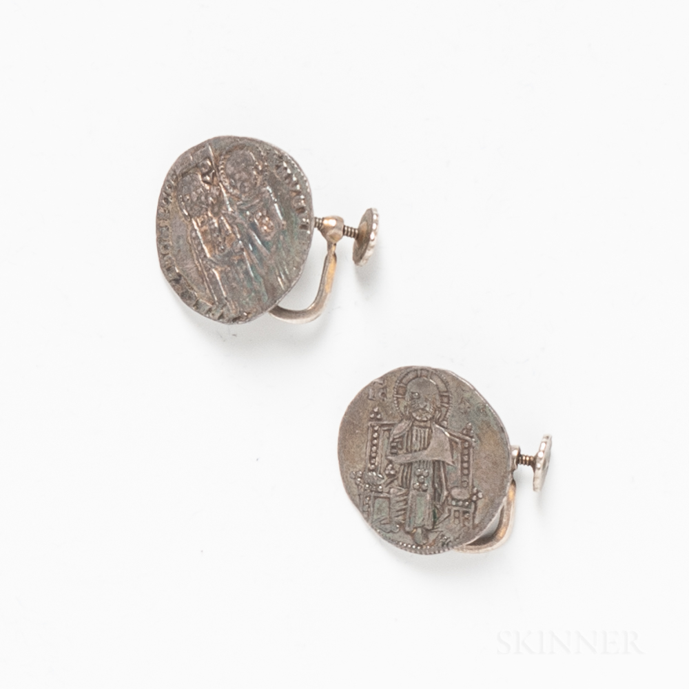 Pair of Byzantine Coin Earrings.     Estimate $200-300