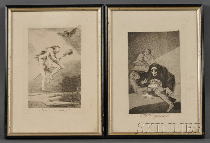 Francisco José de Goya y Lucientes (Spanish, 1746-1828)      Lot of Two Framed Plates from Los Caprichos