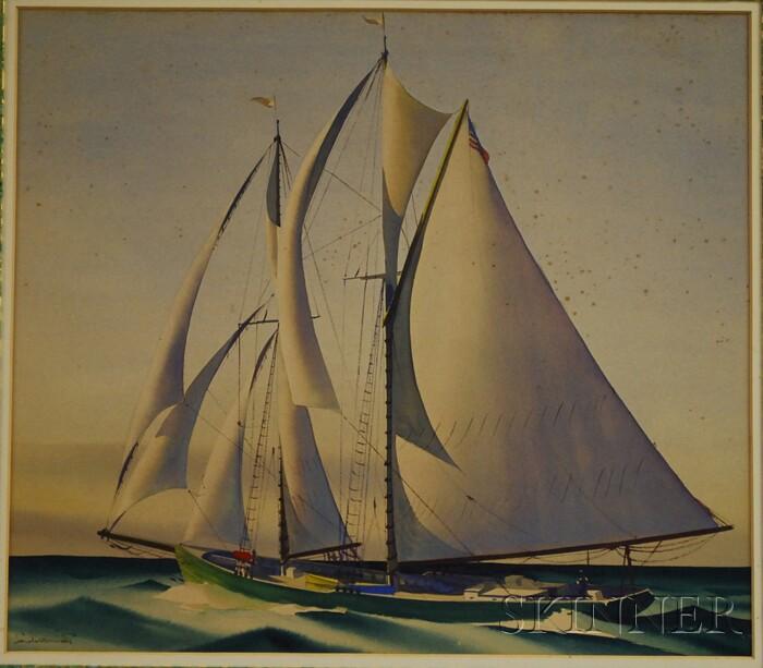 Sandor Bernath (American, 1892-1984)      Ship Under Full Sail