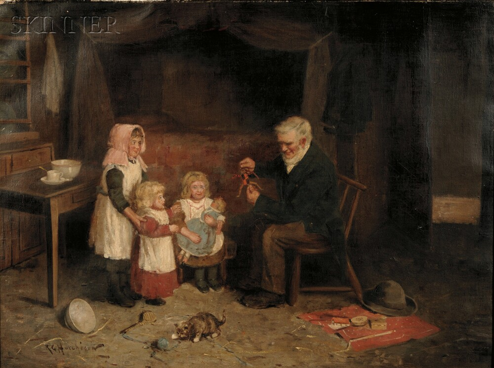 Robert Gemmell Hutchison (Scottish, 1855-1936)      Amusing the Children